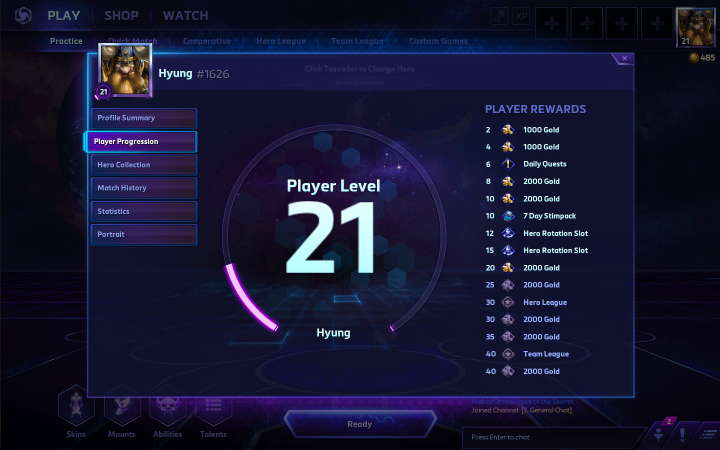 Heroes of the Storm player level